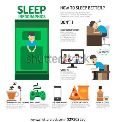 Sleep Infographics. How to sleep better. - stock vector