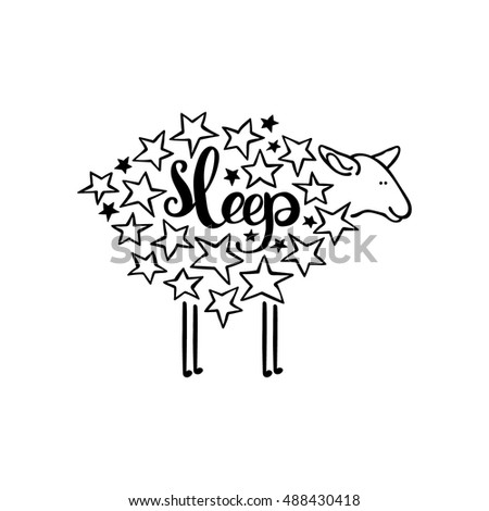 Sleep. Sheep and stars. Isolated object on white background.