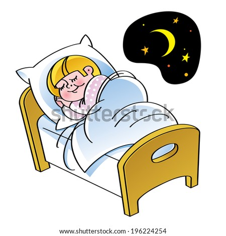 Sleep - sleeping child in the bed - stock vector