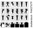 Sleep Sleeping Position Style Posture Method Way on Bed Icon Symbol Sign Pictogram - stock vector