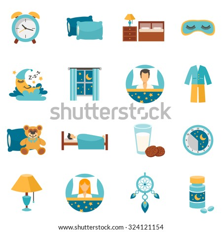 Sleep time flat icons set with alarm clock pillows and bedroom furniture isolated vector illustration - stock vector