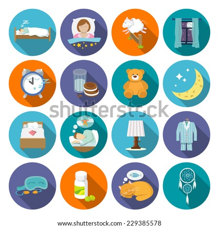 Sleep time icons flat set with window milk and cookies isolated vector illustration - stock vector
