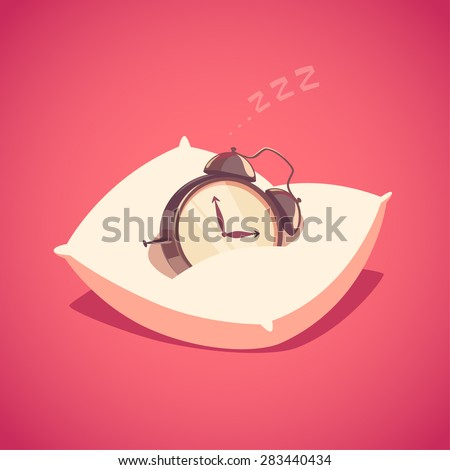 Sleeping alarm clock. Isolated object \ background. - stock vector