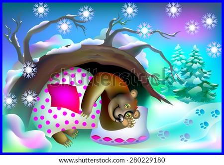 Sleeping bear in a cave during winter, vector cartoon image - stock vector