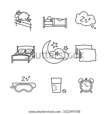 Sleeping, bedtime rest and bed thin line art icons set. Modern black style symbols isolated on white for infographics or web use. - stock vector