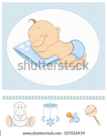 Sleeping boy arrival announcement. Photo frame with baby toys - stock vector
