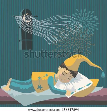 Sleeping boy in long nightcap - stock vector