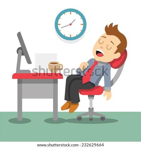 Sleeping businessman. Vector flat illustration - stock vector