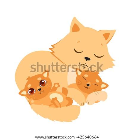 Sleeping Cat And Kitten. Sweet Kitty Cartoon Vector Card. Good Night Vector Illustration. Sleeping Cats Dreaming. - stock vector