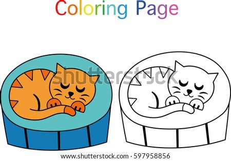 Sleeping Cat Vector Illustration For Coloring Book Page Activities