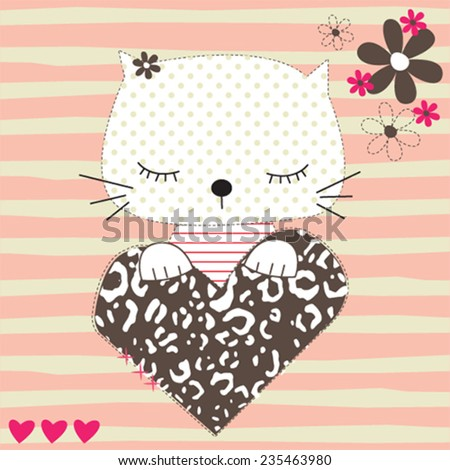 sleeping cute cat striped background vector illustration - stock vector