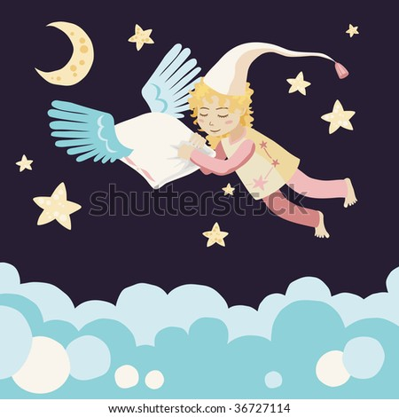 Sleeping Girl with Flying Pillow - stock vector