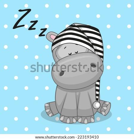 Sleeping Hippo in a cap  - stock vector