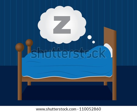 Sleeping in a dark blue room. - stock vector