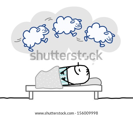sleeping man & nice dream  - stock vector