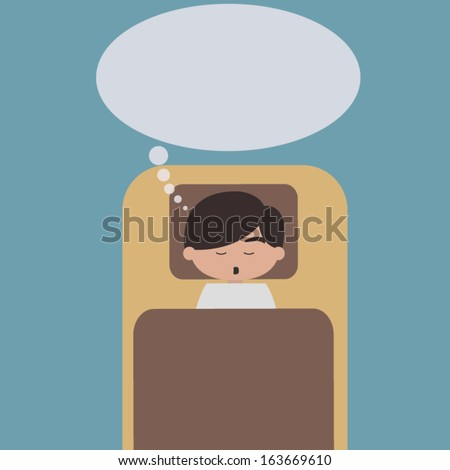 Sleeping man with speech bubble vector - stock vector