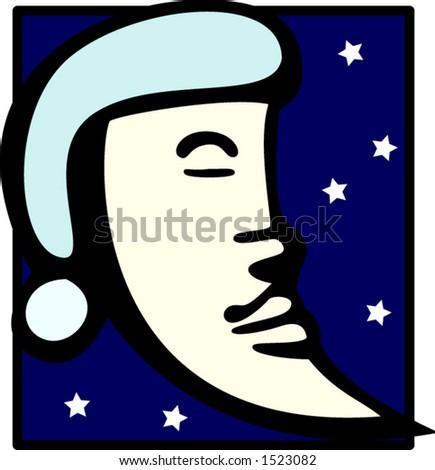 sleeping moon - stock vector