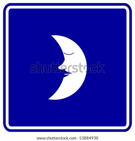 sleeping moon sign - stock vector