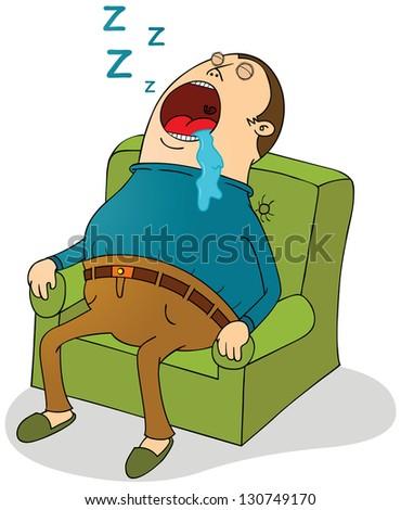 sleeping on sofa - stock vector