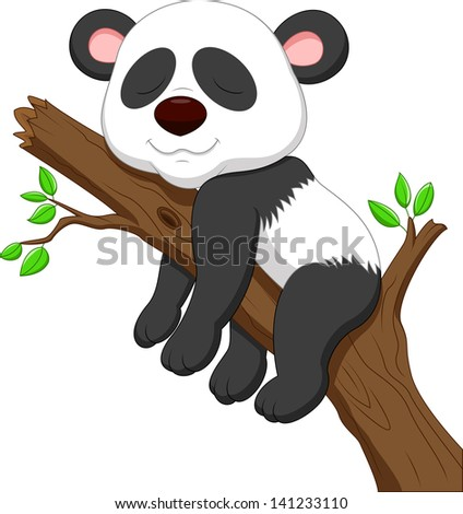 Sleeping panda - stock vector