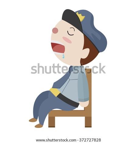 sleeping police cartoon vector - stock vector