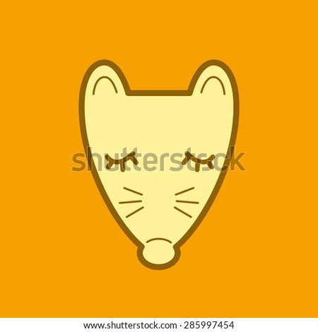 Sleeping rat cartoon graphic on yellow background. Year of the rat Chinese Zodiac. - stock vector