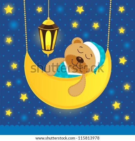 sleeping teddy bear - stock vector