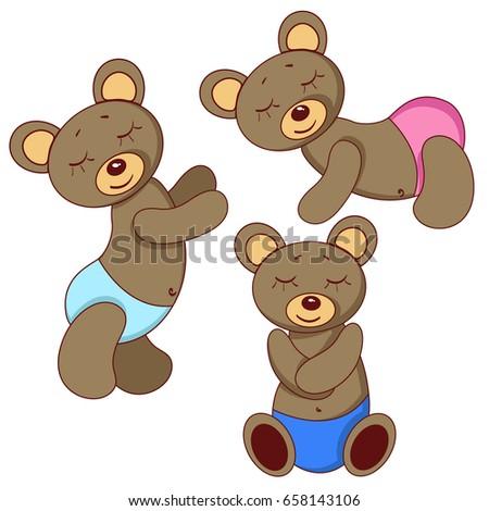 sleeping teddy bears pink blue panties stock vector 658143106
