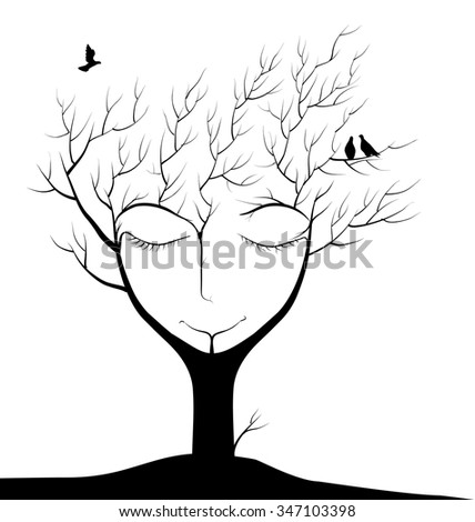 sleeping tree, spirit of the forest, face of sleeping tree in autumn, bird flying and two sitting on the branch, winter dream in forest,  black and white, shadows - stock vector