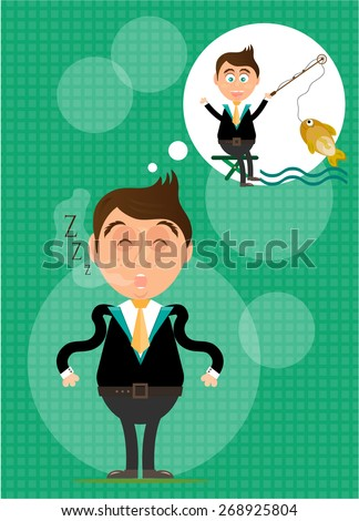 Sleeping, young, standing, man has dream about fishing. He caught golden fish. Green background with pattern. - stock vector