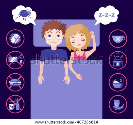 Sleepless man character counting sheep and sleeping woman character with good dream. Sleep and insomnia flat icons.  Vector illustration. Sleeping concept - stock vector