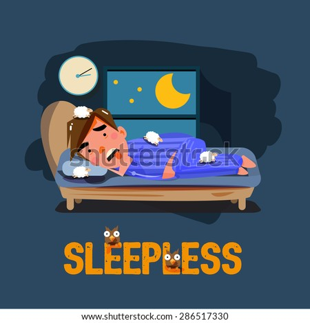 sleepless man character on the bed with bad emotional feeling. character design. ubhealthy concept - vector illustration - stock vector