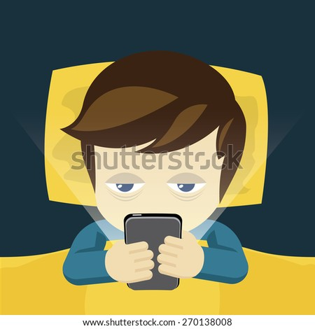 Sleepless man on the bed with mobile, cartoon vector - stock vector
