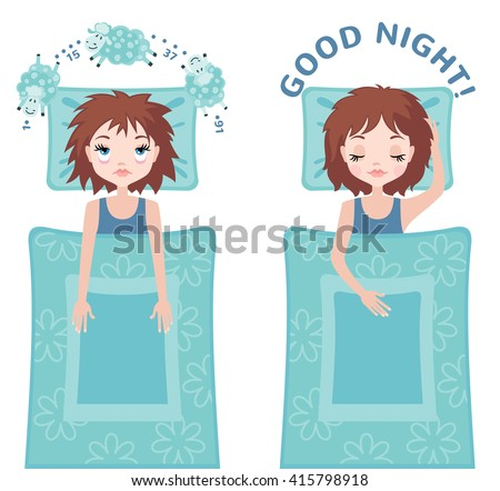 Sleepless woman character counting sheep and sleeping woman character with good dream. Insomnia concept. Vector illustration - stock vector