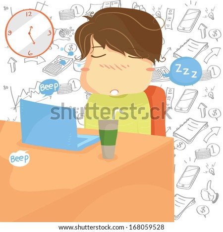 Sleepy Boy Illustration with financial business background