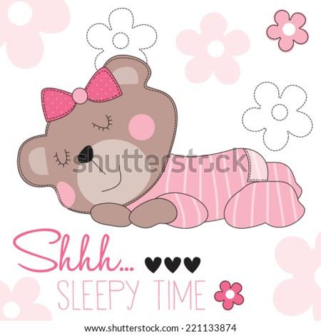 sleepy time bear teddy vector illustration - stock vector