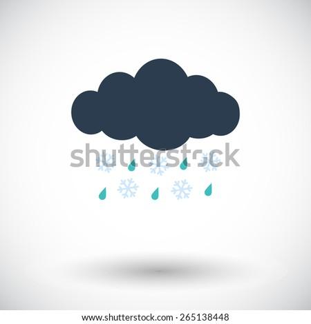 Sleet. Single flat icon on white background. Vector illustration. - stock vector