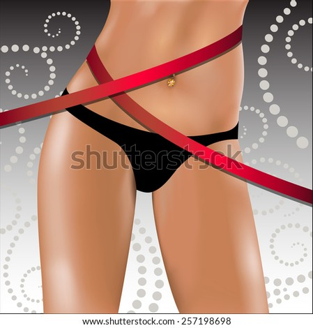 Slender female hips and waist with a measuring tape. Vector illustration. - stock vector