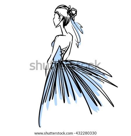 Силуэт платья из линий