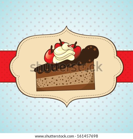 Slice of cake with cherries for greeting card - stock vector