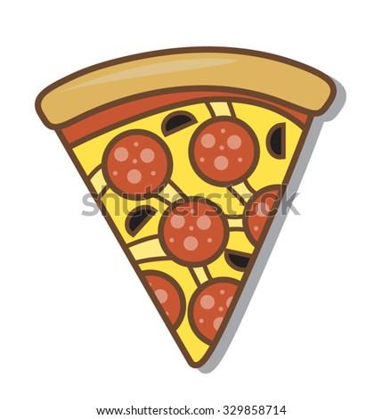 Slice of Cartoon Salami Pizza Isolated on White - stock vector