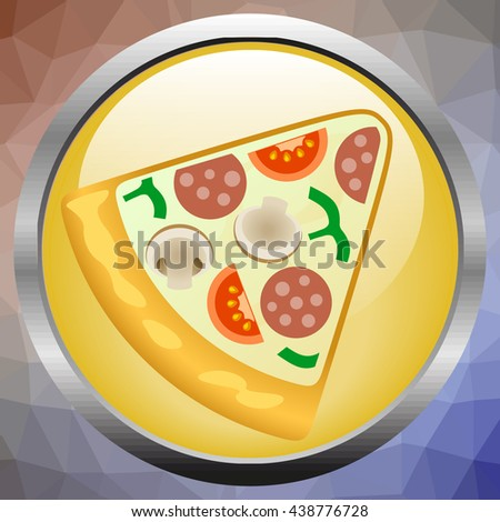 Slice of fresh italian classic original Pepperoni Pizza isolated on white background - stock vector