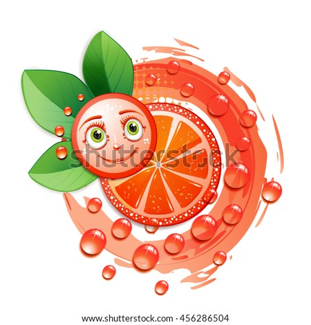 Slice of grapefruit with leafs and a smiley face - stock vector