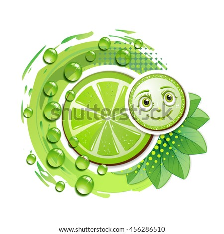 Slice of lime with leafs and a smiley face - stock vector