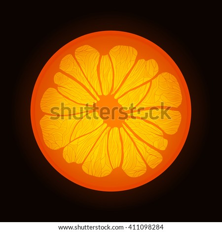 Slice of orange on black background.
