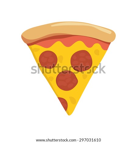 Slice of pepperoni pizza - stock vector