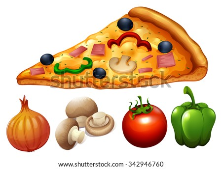 Slice of pizza and ingredients illustration - stock vector