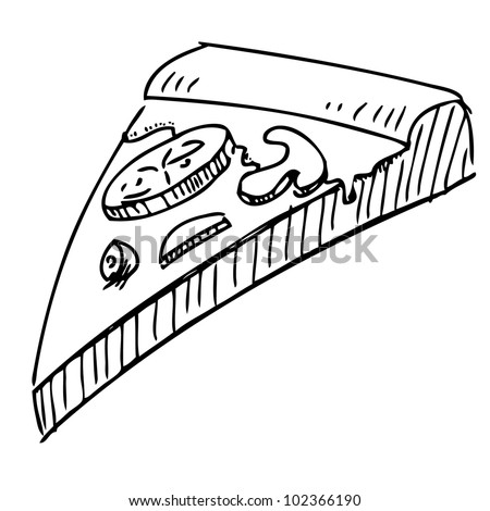 Slice of pizza isolated on white background. Hand drawing sketch vector illustration