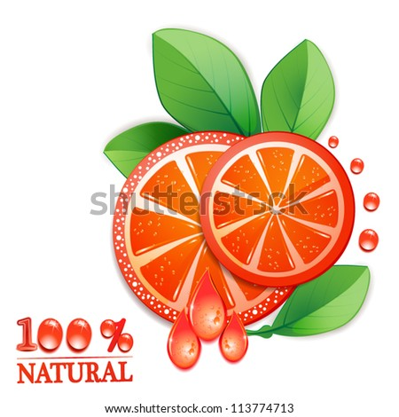 Slice of red grapefruit with drops of juice