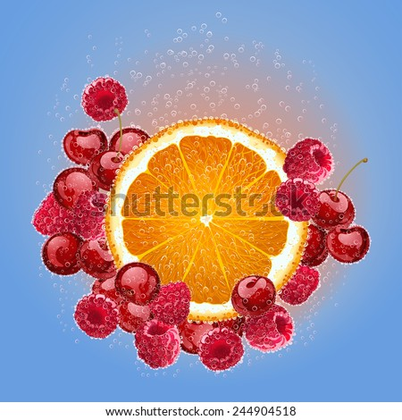 Slice of ripe orange with raspberries and cherries in water - stock vector